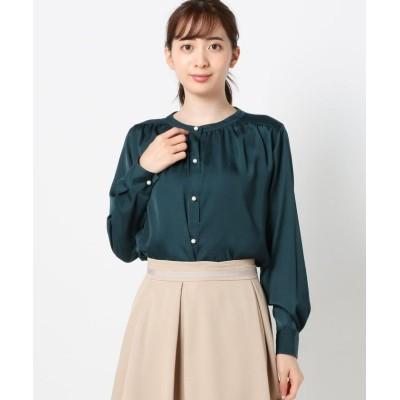 【ミューズ リファインド クローズ】 バンドカラーパールボタンブラウス レディース ダーク グリーン M MEW'S REFINED CLOTHES