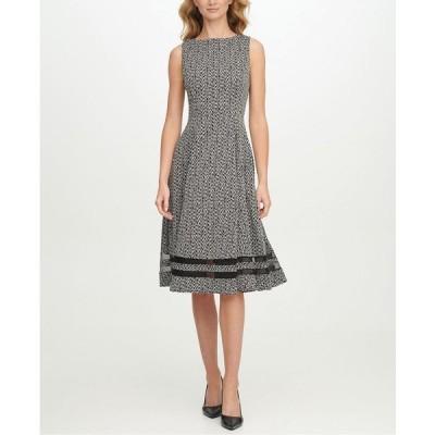 カルバンクライン ワンピース トップス レディース Plus Size Zig-Zag Illusion-Inset Dress Blk/cream