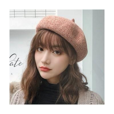 【パンプキン色】ベレー帽 帽子 レディース 秋冬 シンプル おしゃれ ベルベット ベロア