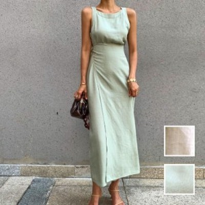 韓国 ファッション レディース ワンピース 夏 春 カジュアル naloI674  ラップスカート ロングスリット エレガント シンプル コーデ 定番