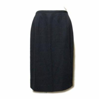 BURBERRY LONDON バーバリーロンドン「42」定番ギャバジンスカート (黒 シルク混ウール) 103485