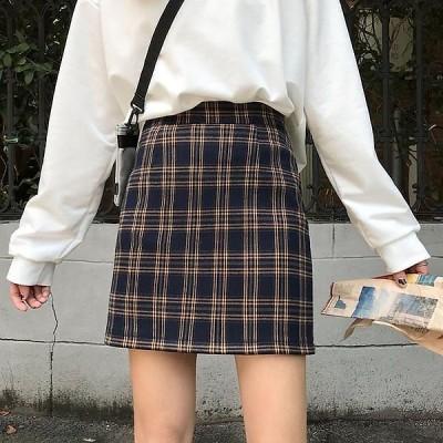 可愛い レディース [2色]ミニスカート ボトムス 春夏  スカート ショート丈 チェック柄 女子 タイトスカート 427