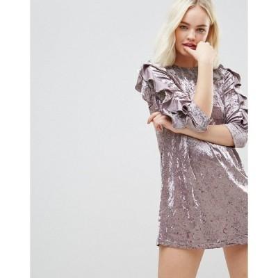 ヘイゼル レディース ワンピース トップス Hazel Crushed Velvet Rouched Sleeve Dress with Lace Yolk Lavender