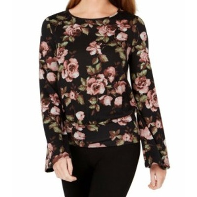 bell ベル ファッション トップス BCX Womens Black Size XXS Floral Print Open Back Bell Sleeve Knit Top