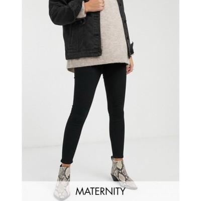 トップショップ マタニティー Topshop Maternity レディース ジーンズ・デニム ボトムス・パンツ Joni Overbump Skinny Jeans In Black ブラック