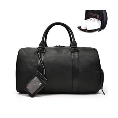 LUUFAN Unisex Leather Travel Duffel Bag Vintage Weekend Bag (Black) 並行輸入品