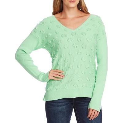 ヴィンスカムート レディース ニット&セーター アウター Floating Fringe Dot Cotton Sweater Pistachio