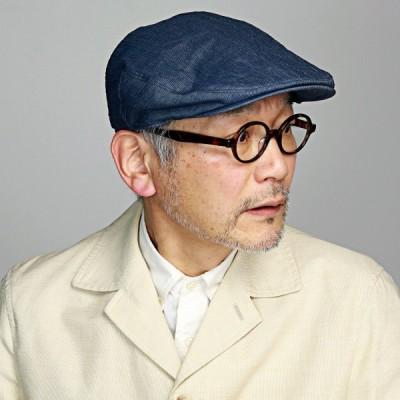 マルゼ ハンチング 日本製 小千谷縮 ピンストライプ 帽子 サイズ調整付 メンズ レディース ハンチング帽 春 夏 小さいサイズ 大きいサイズ 紺 ネイビー