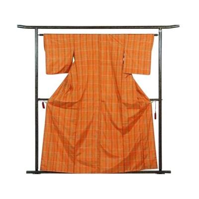 リサイクル着物 紬 正絹オレンジ地格子柄袷紬着物