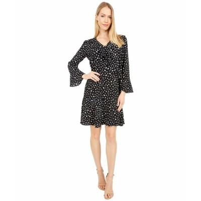 ロンドンタイムス ワンピース トップス レディース Confetti Dot Bubble Crepe Long Sleeve Side Ruffle Flounce Dress Black/Soft White