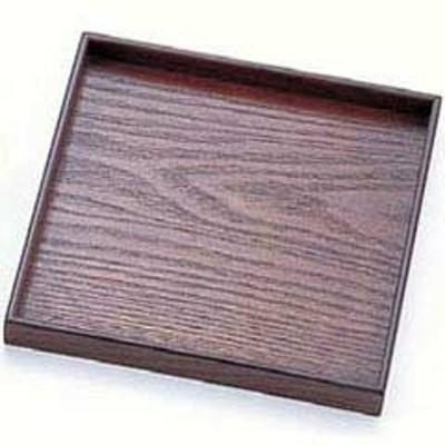 丸十 お盆 木製 宴 角皿 目摺り 7.0