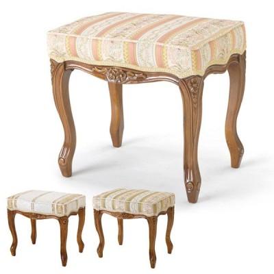 スツール 椅子 クラシック調 姫系 Fiore ブラウンフレーム 座面高45cm ( 猫脚 ロマンチック 輸入家具 ヨーロピアン )