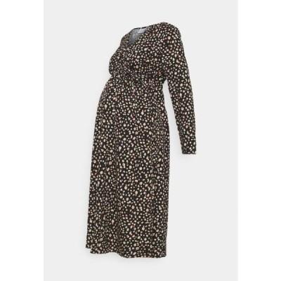 レディース ジャージドレス MLDAY WOVEN MIDI DRESS - Jersey dress - black/small print