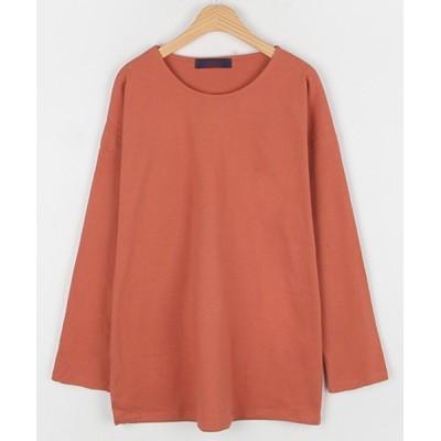 【サードスプリング】 MICHYEORA(ミチョラ)デイリーベーシックTシャツ- Tシャツ トップス ルーズ オーバーサイズ クルーネック レディース オレンジ フリー 3rd Spring
