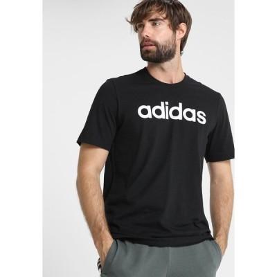 アディダス Tシャツ メンズ トップス LIN TEE - Print T-shirt - black/white