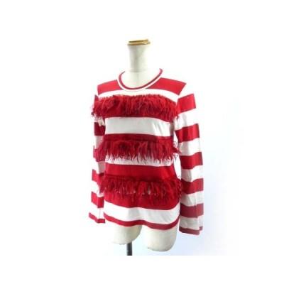 【中古】コムデギャルソン COMME des GARCONS Tシャツ カットソー 長袖 ボーダー 赤 レッド ホワイト GO-T035 SD2014 XS SSS9 レディース 【ベクトル 古着】