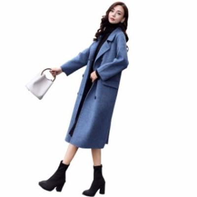ロングコート レディース 韓国 ファッション 秋冬 レディース チェスターコート ダブルコート 上品 オフィスカジュアル 冬コート ブルー