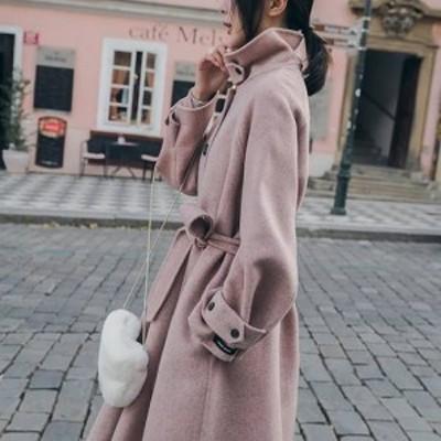 2色 アウター レディース コート ロング ミモレ丈 ウール シンプル 大人可愛い フェミニン きれいめ 長袖 無地 ピンク ベージュ