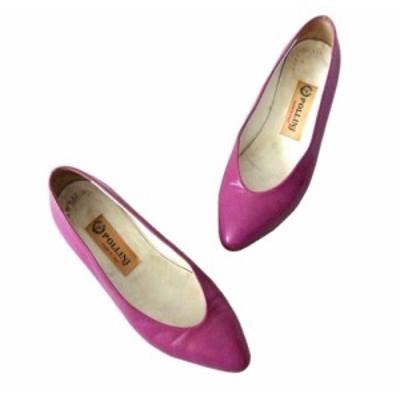 POLLINI ポリーニ「36 1/2」イタリア製レザーパンプス (靴 シューズ 皮 革 ピンク) 093819【中古】