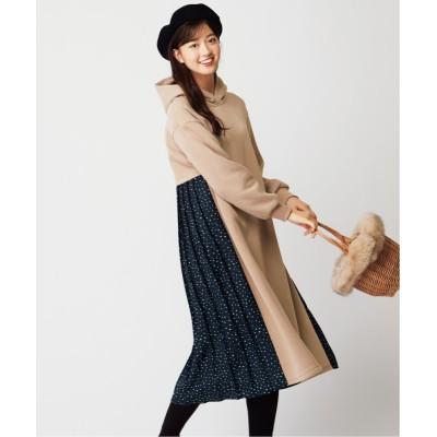 【大きいサイズ】 裏起毛バックプリーツワンピース ワンピース, plus size dress