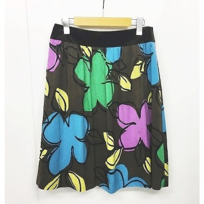 【中古】エムズグレイシー M'S GRACY 花柄スカート フレアスカート ベロア 茶 ブラウン 40 IBS74 0912 レディース 【ベクトル 古着】