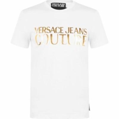 ヴェルサーチ VERSACE JEANS COUTURE メンズ Tシャツ ロゴTシャツ トップス Gold Logo T Shirt White G