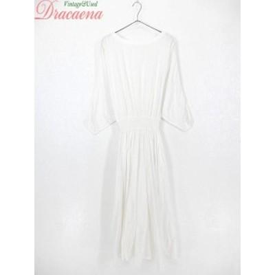 古着 レディース ワンピース 無地 ドルマンスリーブ デザイン ホワイト ロング 長袖 ドレス 古着