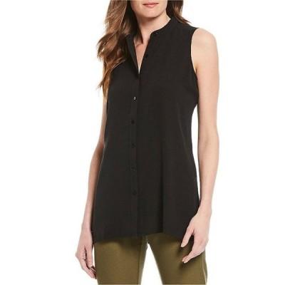 エイリーンフィッシャー レディース シャツ トップス Petite Size Silk Georgette Crepe Mandarin Collar Sleeveless Shirt