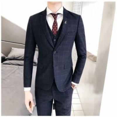 ビジネススーツ  シングル2つボタンスーツ  メンズスーツ  チェック柄 スリーシーズン  スリムスーツ フォーマル  紳士服  結婚