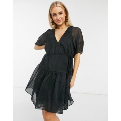 ムーンリバー レディース ワンピース トップス Moon River puff sleeve organza mini dress Black