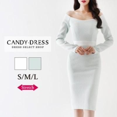 【予約】S/M/L 送料無料 Luxury Dress ストレッチジャガード×ウエストバイカラー切り替えオフショルダー長袖タイトミディドレス PE20120
