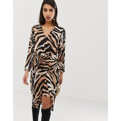 リバーアイランド レディース ワンピース トップス River Island wrap front midi dress in tiger print