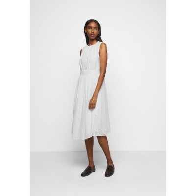 ビクトリアベックカム ワンピース レディース トップス GATHERED FRONT BRODERIE ANGLAISE DRESS - Day dress - white