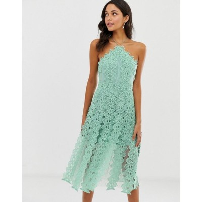 エイソス ASOS DESIGN レディース ワンピース ワンピース・ドレス midi dress with pinny bodice with cutwork skirt detail Mint