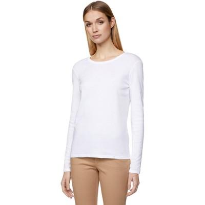 BENETTON (women) ループロゴUネック長袖Tシャツ・カットソー(ホワイト)【返品不可商品】