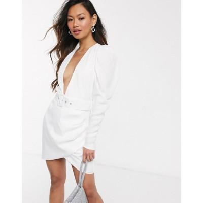 インザスタイル ミニドレス レディース In The Style x Stephsa plunge front puff sleeve mini dress with belt in white エイソス ASOS ホワイト 白