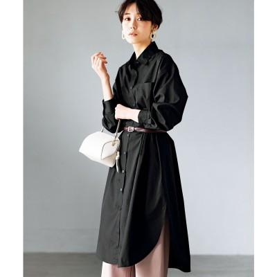 ジーラ GeeRA【インスタグラマーてらさん着用】ロングシャツワンピース (ブラック)