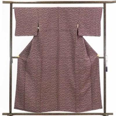 【中古】リサイクル着物 小紋 / 正絹茶紫地洗面柄袷小紋着物 / レディース【裄Mサイズ】
