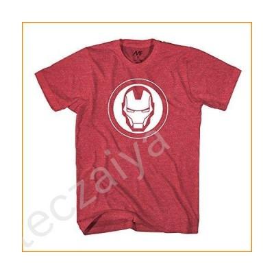 Marvel Avengers Iron Man Mask Logo Mens T-Shirt (Small, Heather Red)並行輸入品