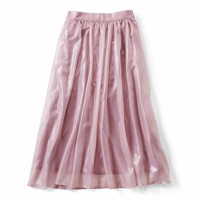 ふわふわ軽やか 箔プリントのギャザースカート〈ラベンダー〉 フェリシモ FELISSIMO