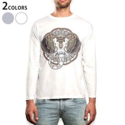 ロングTシャツ メンズ 長袖 ホワイト グレー XS S M L XL 2XL Tシャツ ティーシャツ T shirt long sleeve  アジアン ゾウ カラフル 010051