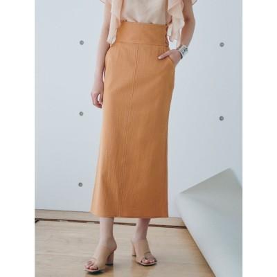 LAGUNAMOON ハイウエストボタンマキシスカート(オレンジ)