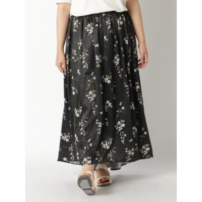 【大きいサイズ】【L-5L】ゆったりサイズ!フラワープリントロングスカート 大きいサイズ スカート レディース
