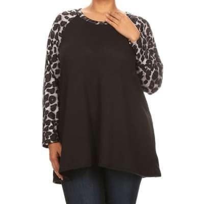 アンブランデッド MOA Collection レディース Plus-size Leopard-sleeve Top