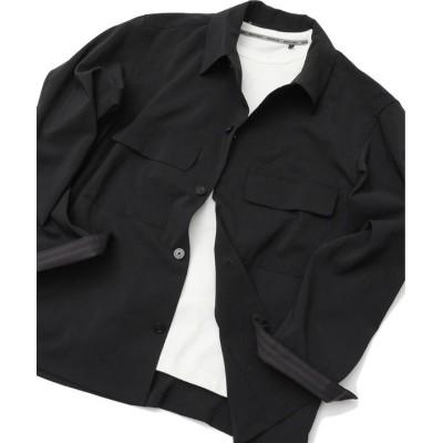 (Men's Bigi/メンズビギ)麻調ストレッチウェザーCPOシャツ/メンズ ブラック