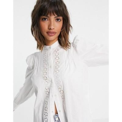 アンドアザーストーリーズ レディース シャツ トップス & Other Stories organic cotton broderie blouse in off-white Offwhite