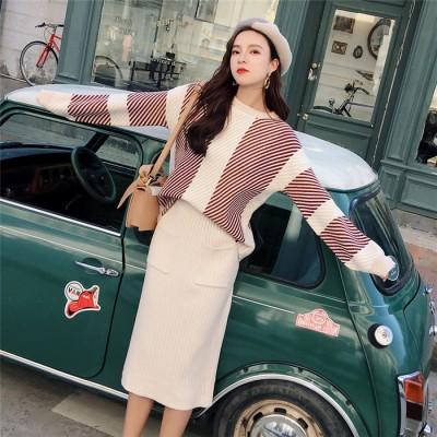 送料無料 秋と冬  CHIC気質 新品  セーター  セット  ファッション  怠惰な風  ニット  セット