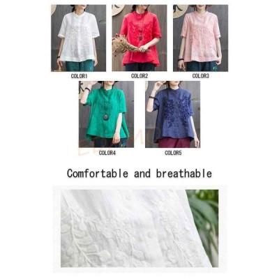 シャツ レディース トップス 半袖 ブラウス オフィス 夏 刺繍 綿麻 綿混 大きいサイズ ゆったり 30代 40代 コーデ 大人 カジュアル