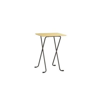 ds-2154570 折りたたみハイテーブル 【角型 ナチュラル×ブラック】 幅60cm 日本製 木製 スチールパイプ 〔ダイニング リビング〕【代引不可】