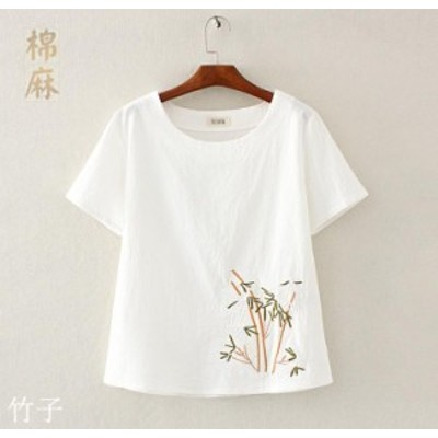 夏マストアイテム♪レディース中国風半袖Tシャツ シンプル白トップス チャイナ風ゆったり綿麻ナチュラル エスニック綿麻刺繍柄S~3XL